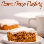 pumpkin bars with cream cheese frosting on a white plate