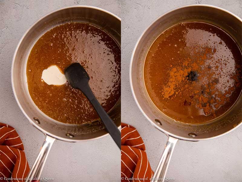 caramel sauce cooking in a metal pot