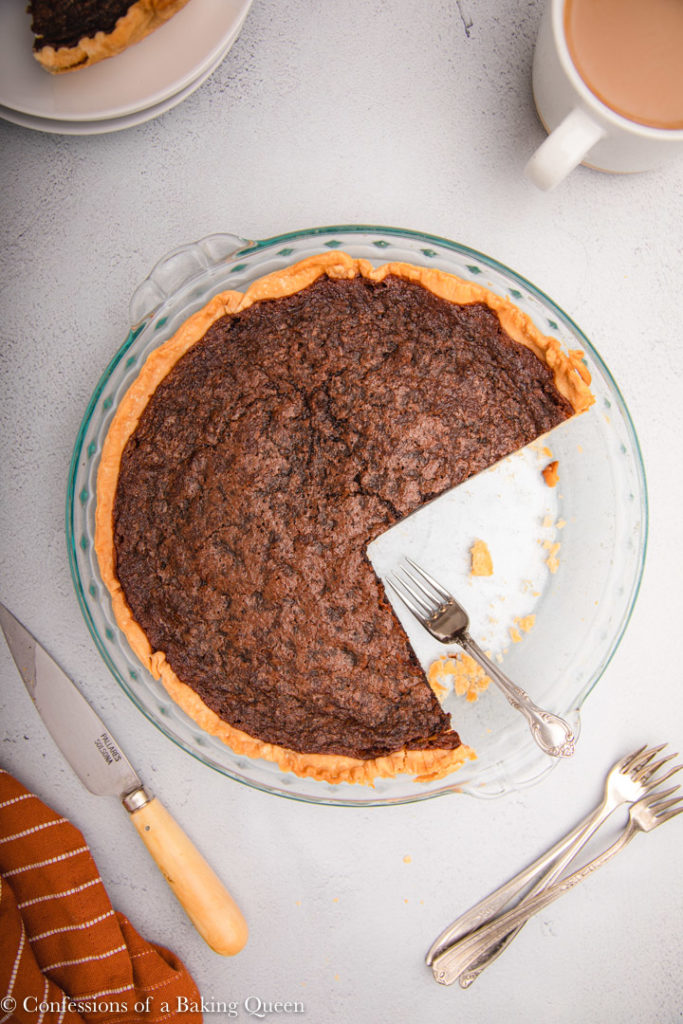 pieces missing from a chocolate chess pie