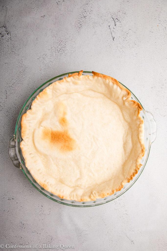 par baked pie crust on a grey surface