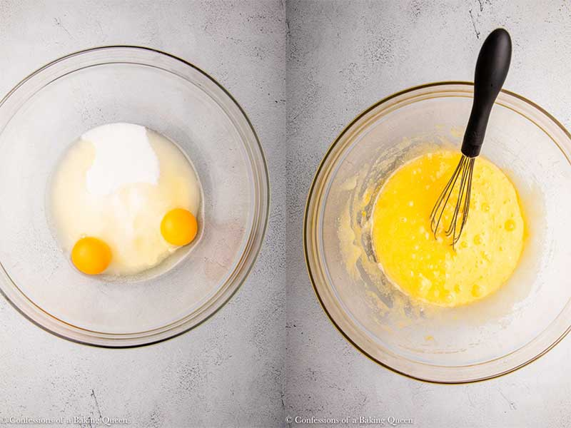 eggs and sugar mixed together in glass bowl