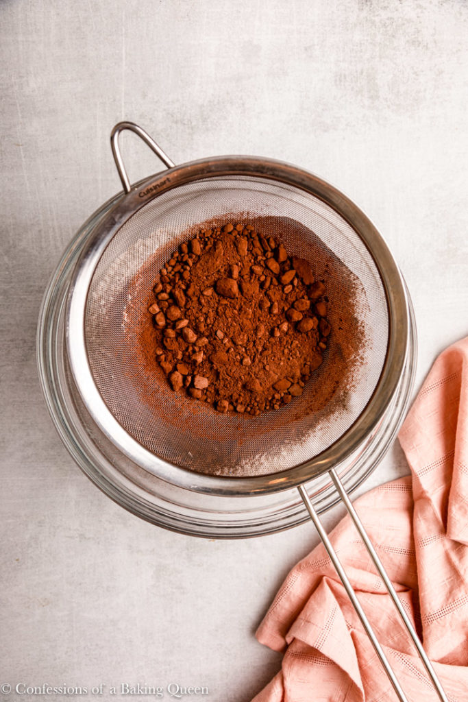 cocoa powder sifted in a bowl
