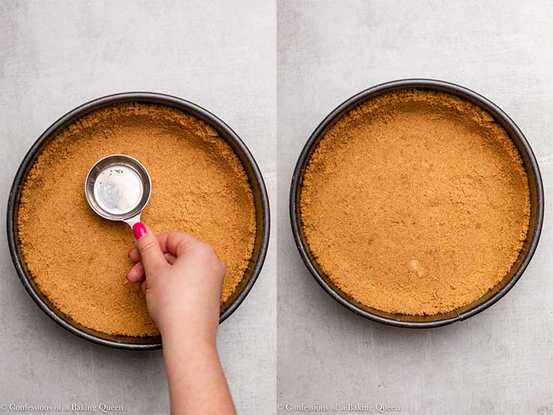 Graham cracker crust pressed into a springofrm pan