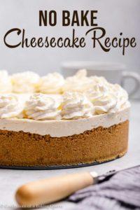 no bake cheesecake on a grey surface