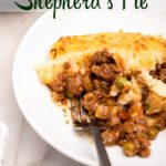 Shepherds Pie on a plate with a fork