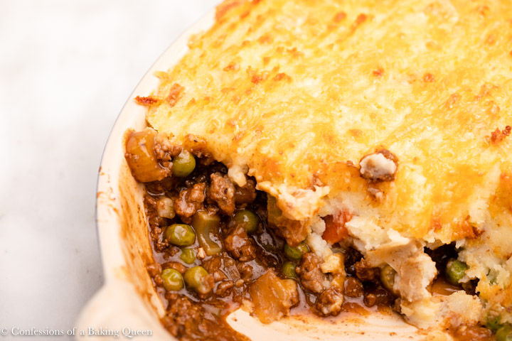 close up inside a baked shepherds pie
