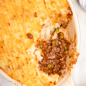 close up of baked shepherds pie