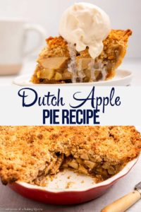 dutch apple pie baked with ice cream on top