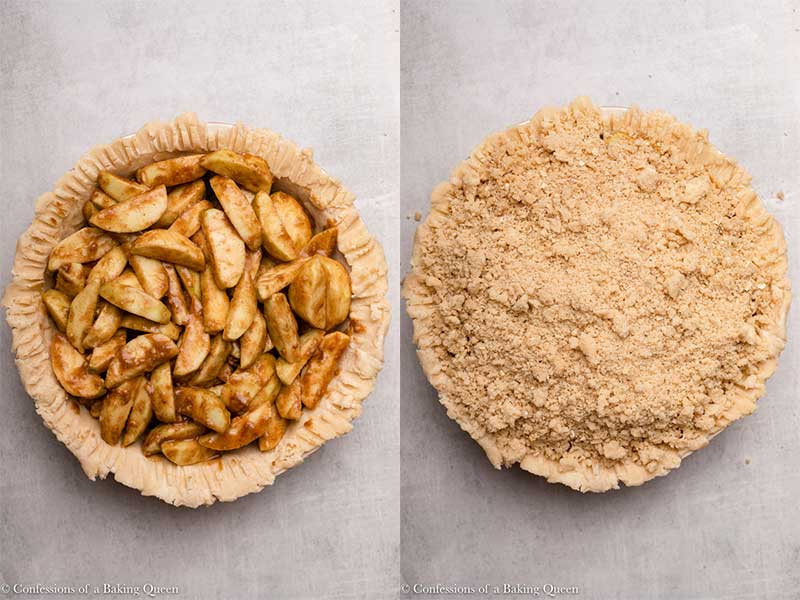 dutch apple pie topped with a streusel topping before baking