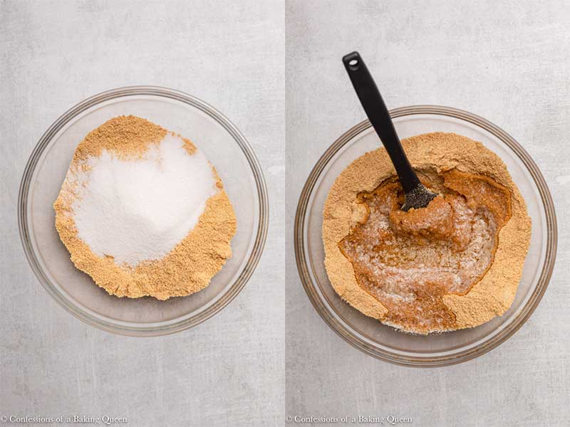 graham cracker crust ingredients in a glass bowl