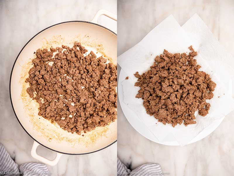 ground beef browning in a skillet then draining on a paper towel lined plate