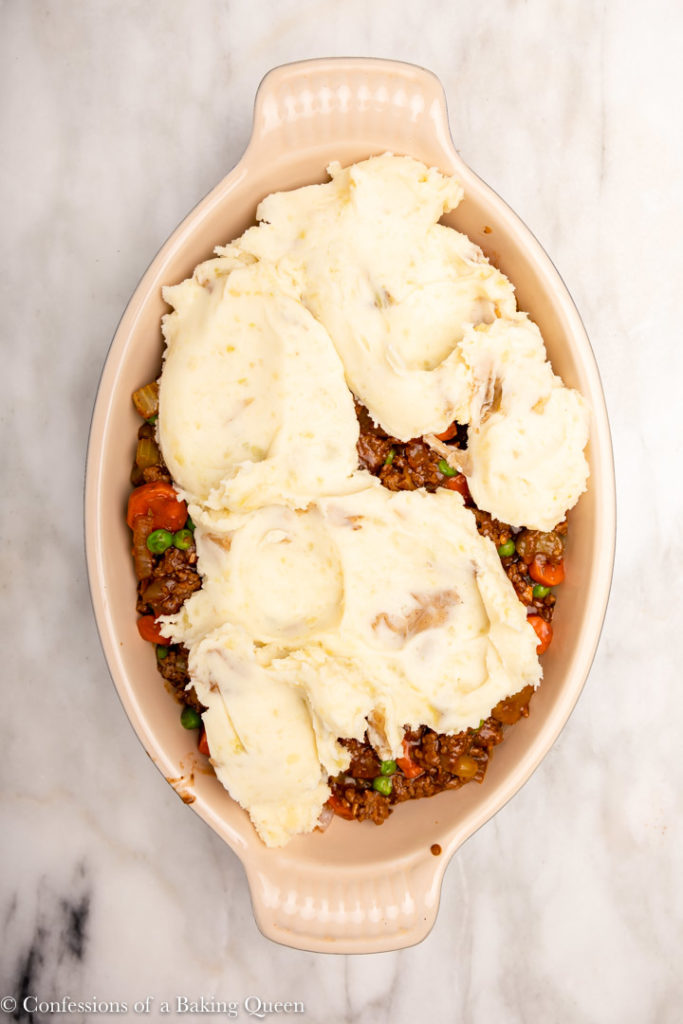 mashed potatoes added on top of cottage pie