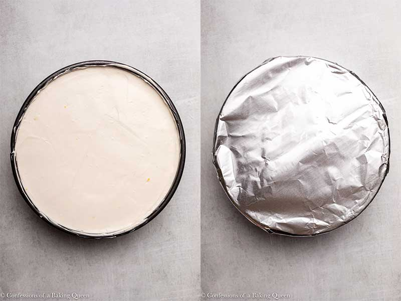 no bake cheesecake spread out and lined with foil_