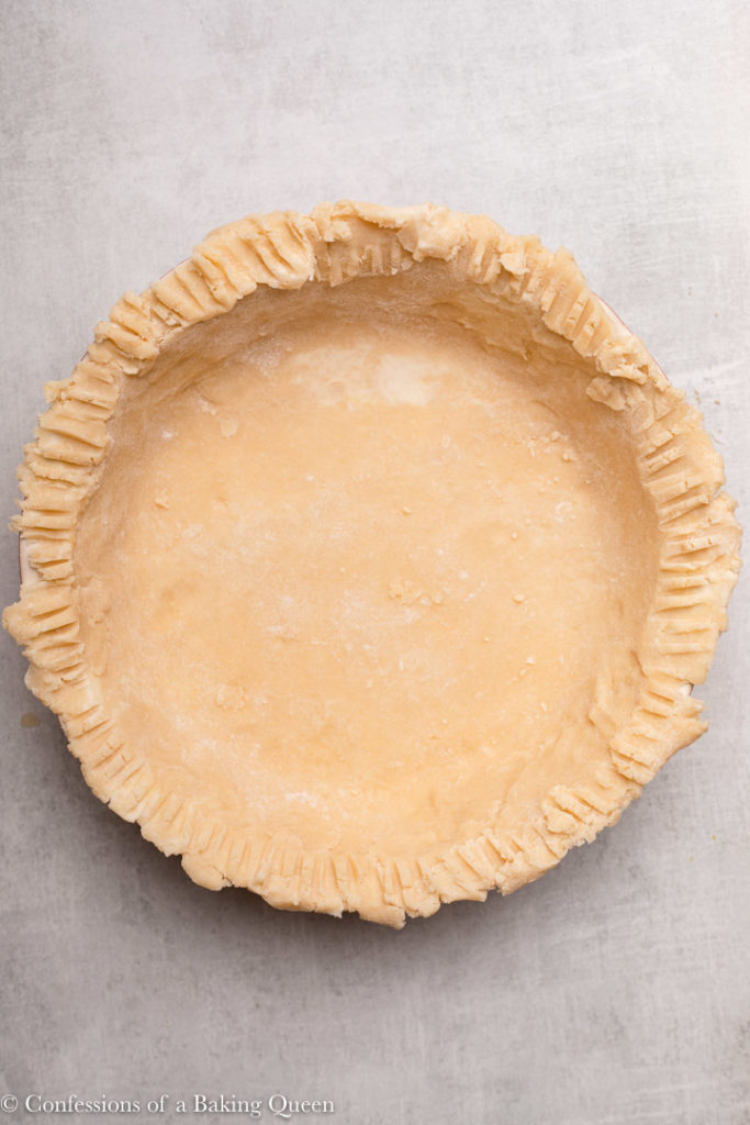 pie crust in a deep dish pie dish