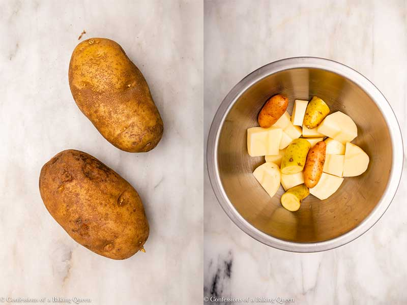 russet potatoes whole then peeled and chopped in a metal bowl