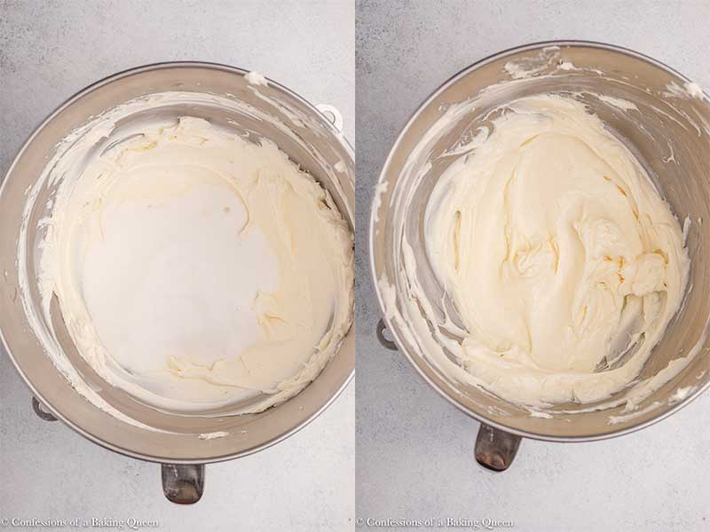 sugar-and-cream-cheese-mixed-together-in-a-metal-bowl on a light grey background