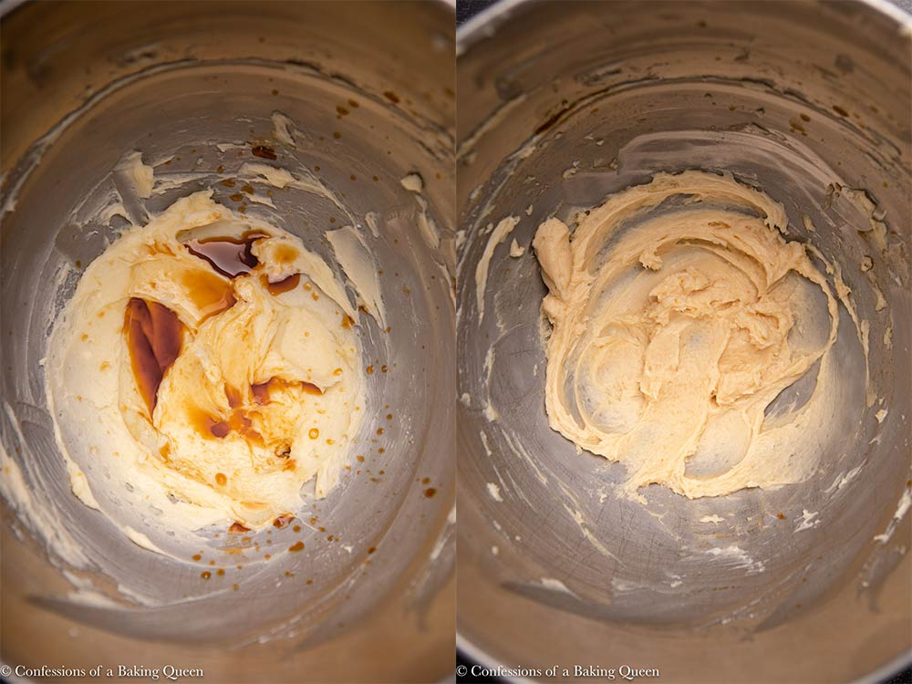 butter and sugar mixture mixed with almond and vanilla extract