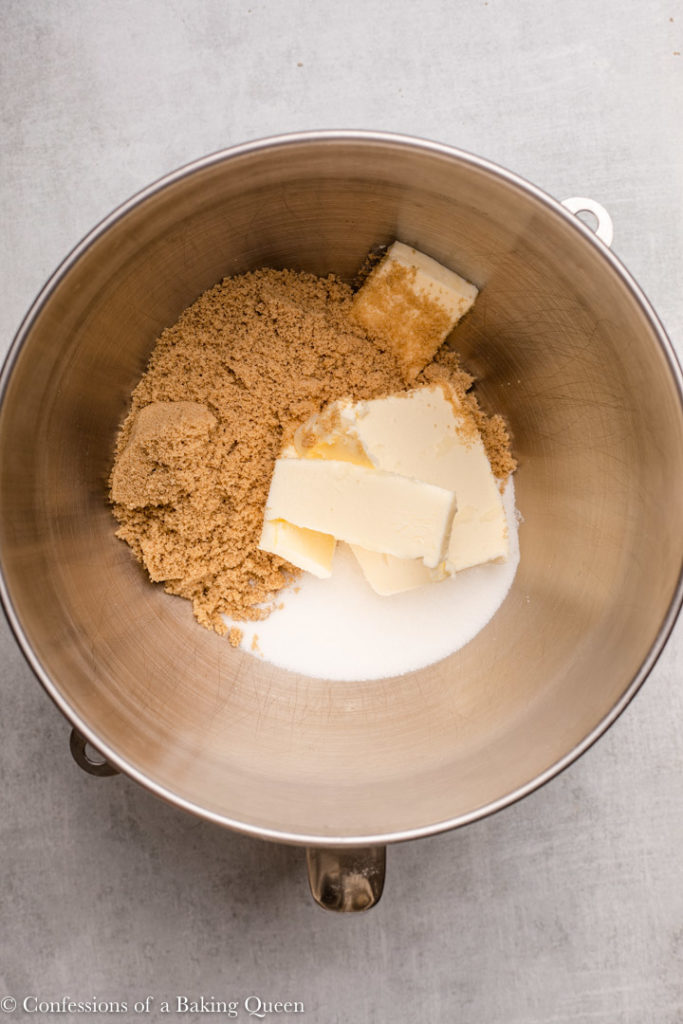 butter, brown sugar, and granulated sugar in a metal mixing bowl