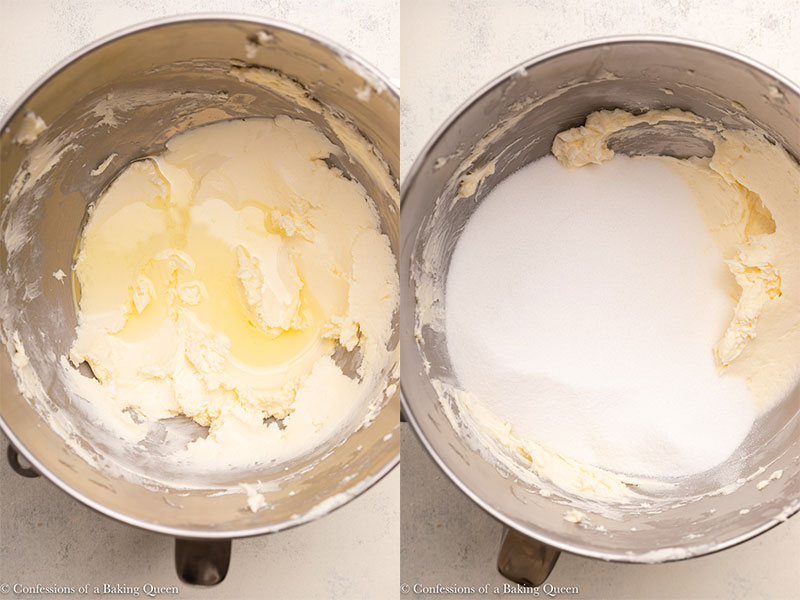 butter, cream cheese, and oil mixed together with sugar in a metal mixing bowl