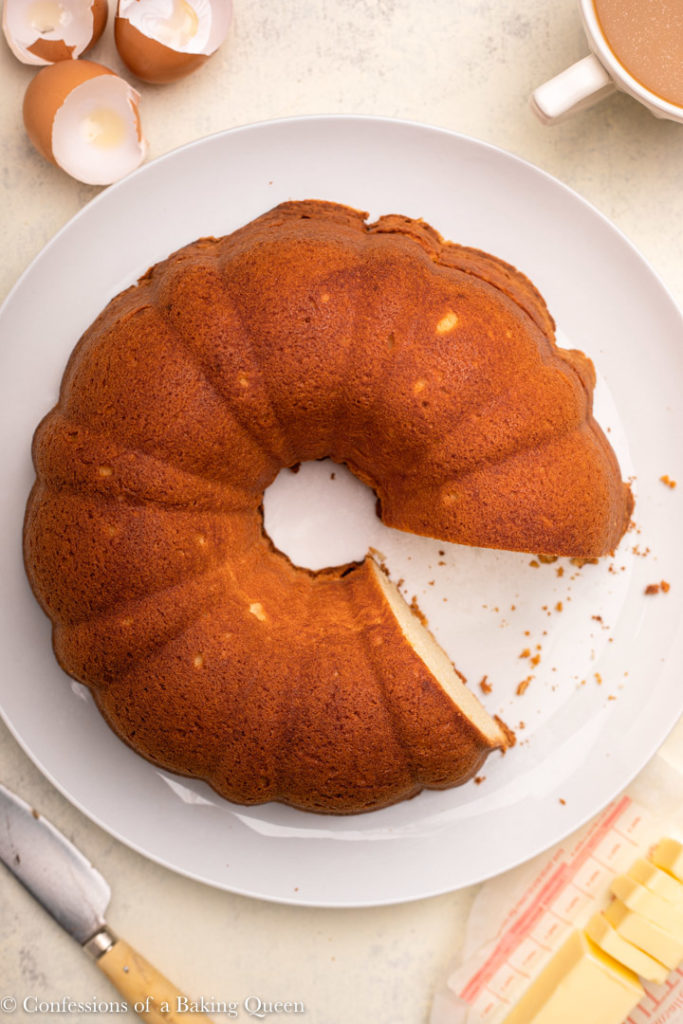 cream cheese pound cake served on a white plate