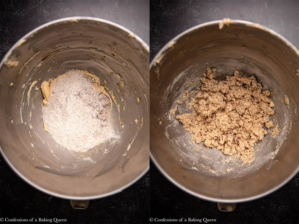 dry ingredients added to wet ingredients in a metal bowl