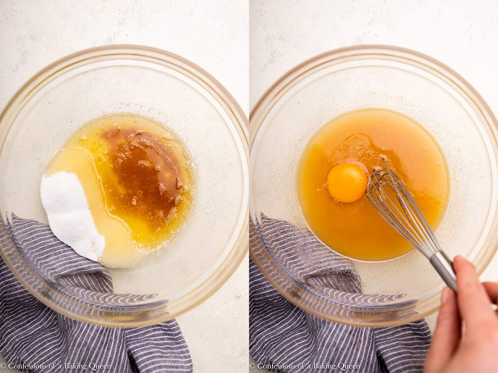 egg, sugar, vanilla, and eggs mixed together in a glass bowl