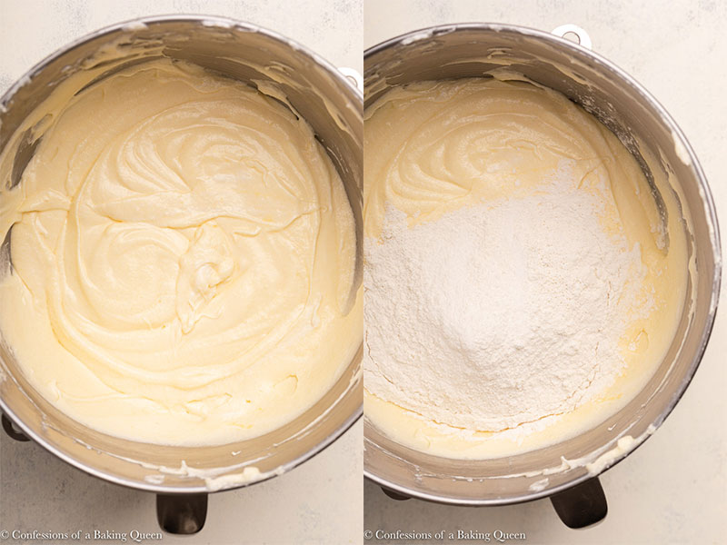 flour added to cream cheese pound cake batter