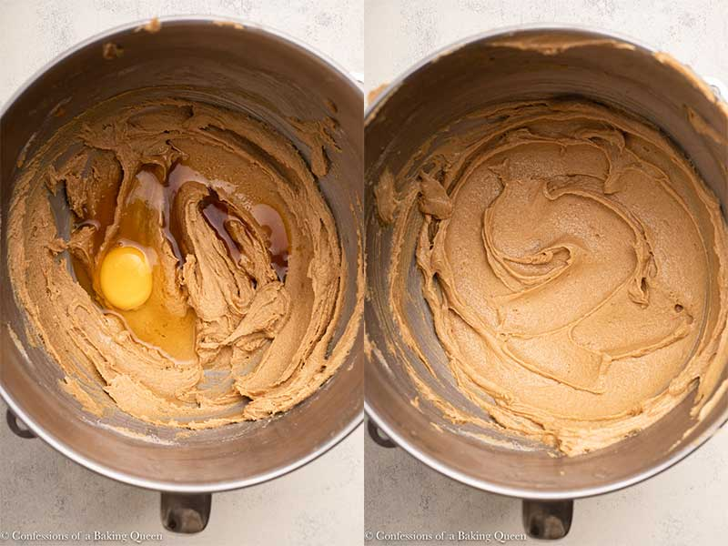peanut butter, egg, vanilla added to butter sugar mixture in a metal bowl