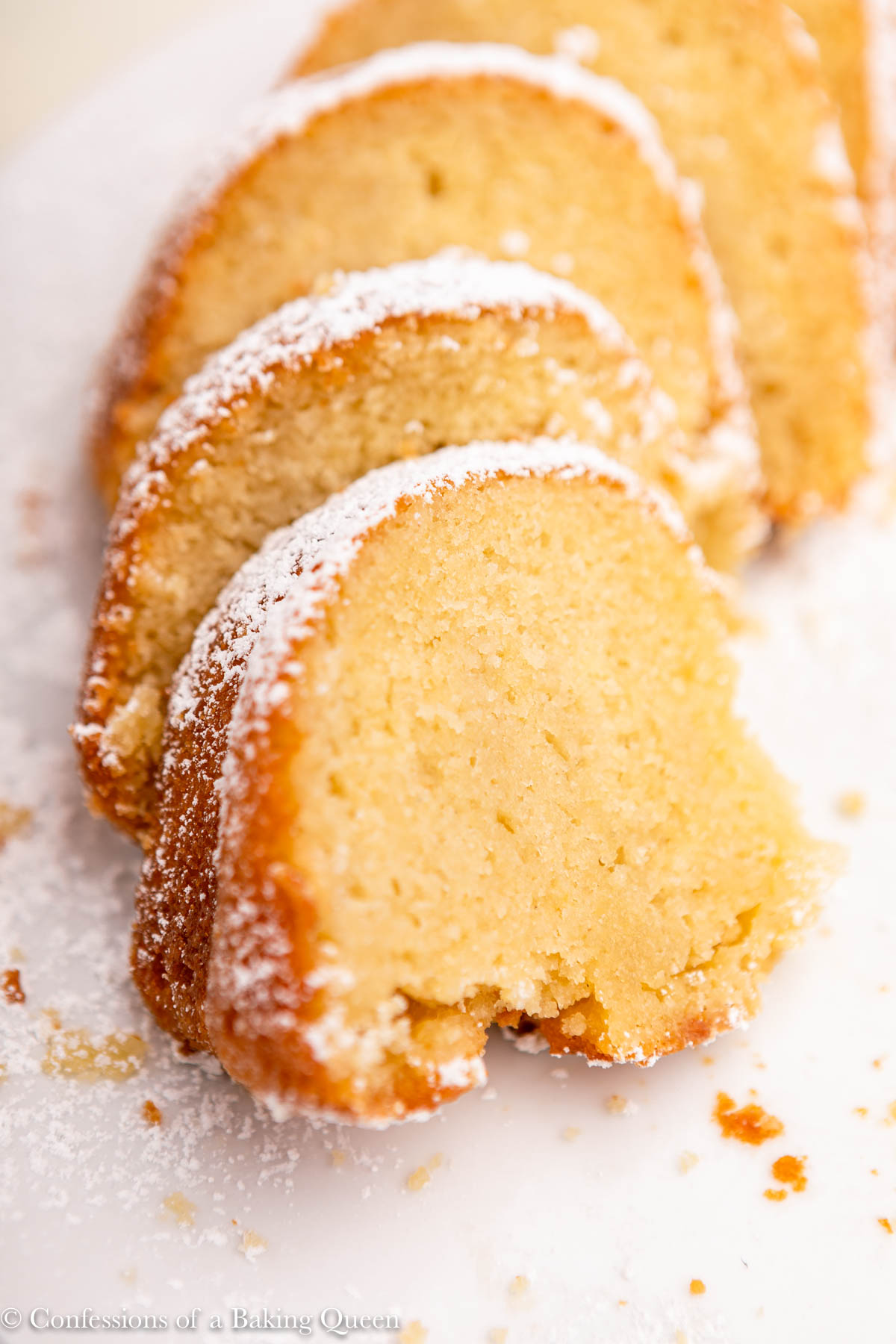 slices of kentucky butter cake on a white plate