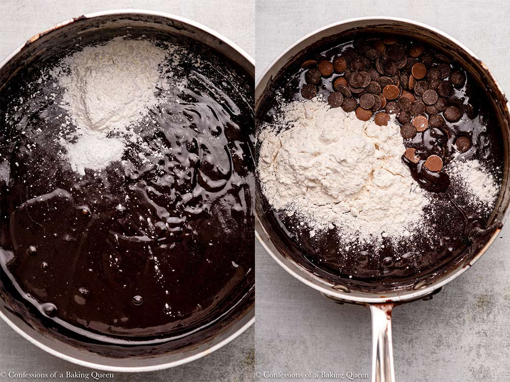 brownie batter in a metal pot with cornstarch, baking soda, flour and chocolate chips