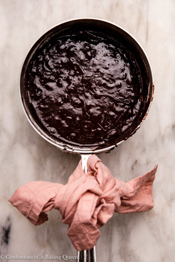 brownie batter in a stainless steel pot