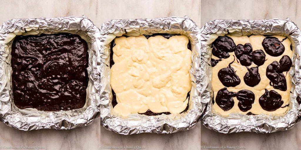 cheesecake brownie batter in a square pan before baking