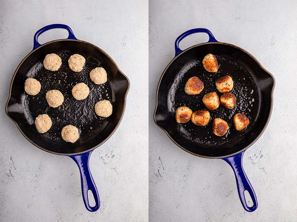 chicken meatballs in a skillet