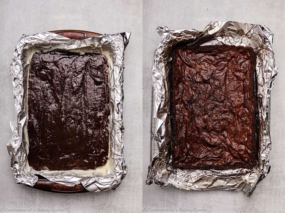 chocolate brownies before and after baking