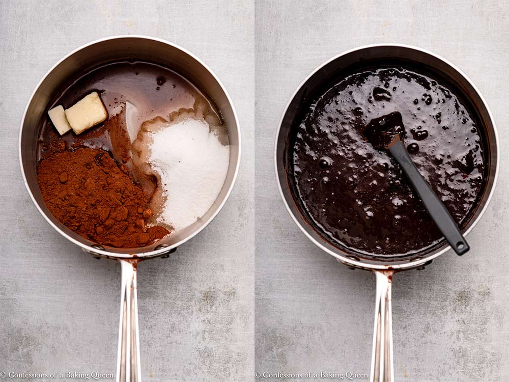 cocoa powder, butter, corn syrup, sugar and water mixed together in a metal pot