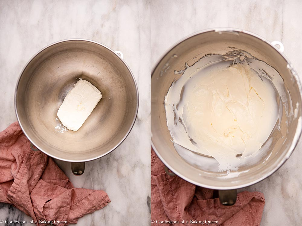 cream cheese in a metal mixing bowl