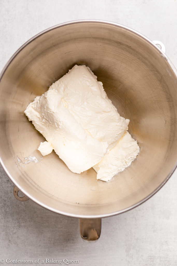 cream cheese in a bowl of an electric mixer