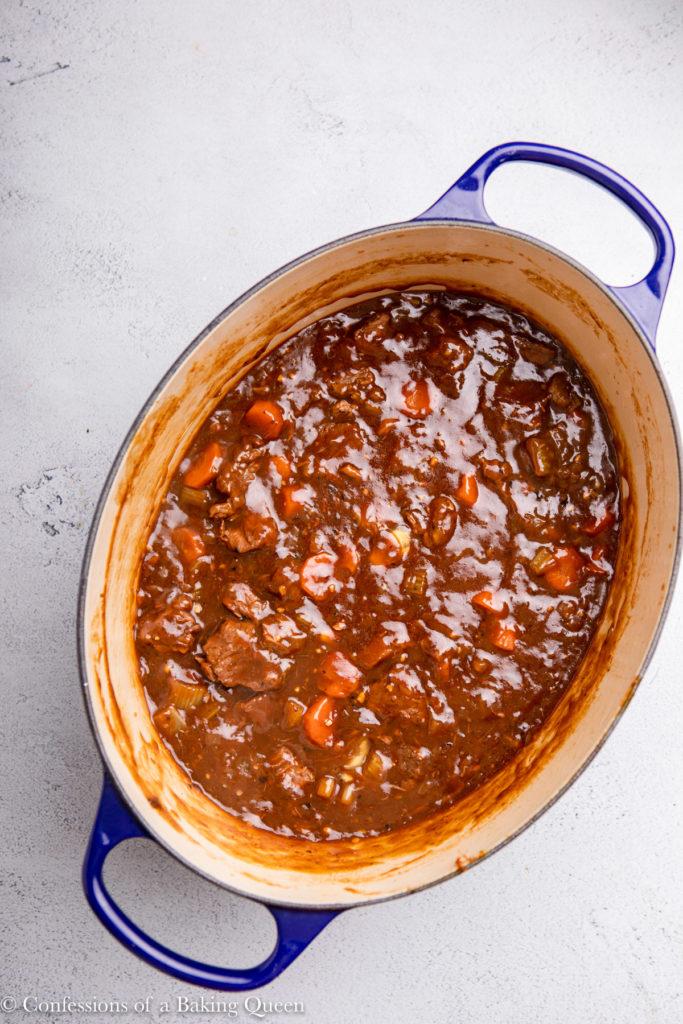 dutch oven full of irish stew