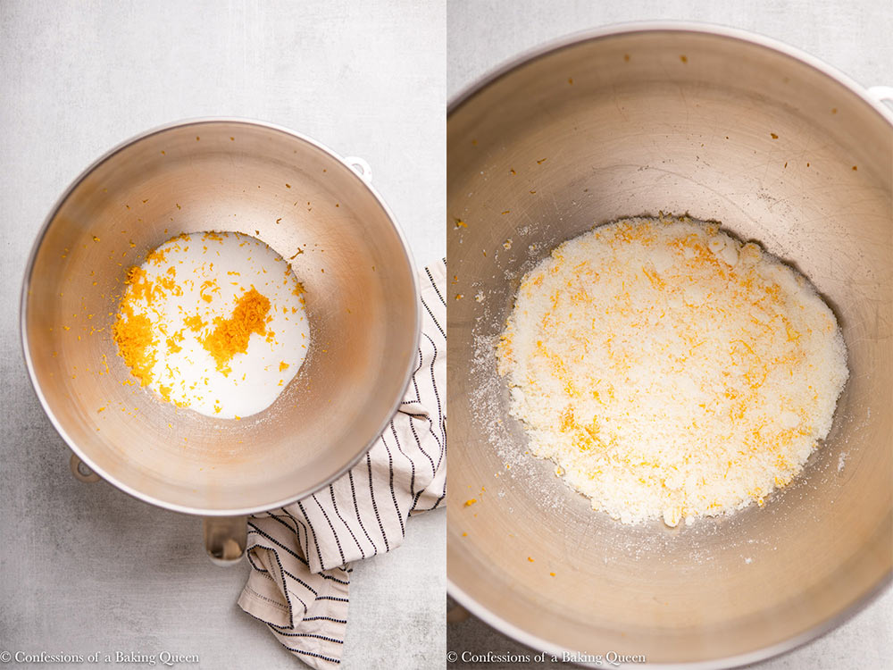 lemon zest and sugar mixed together in a metal bowl