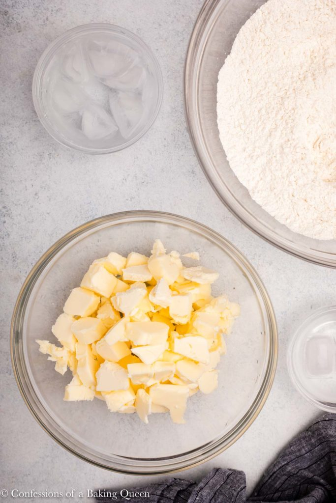 butter pie crust recipe ingredients on a white counter