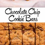 close up of chocolate chip cookie bar on a wire rack