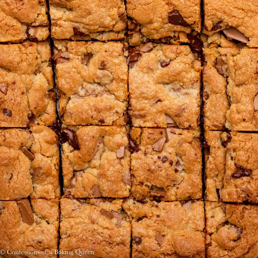 close up of chocolate chip cookie bars cut into squares