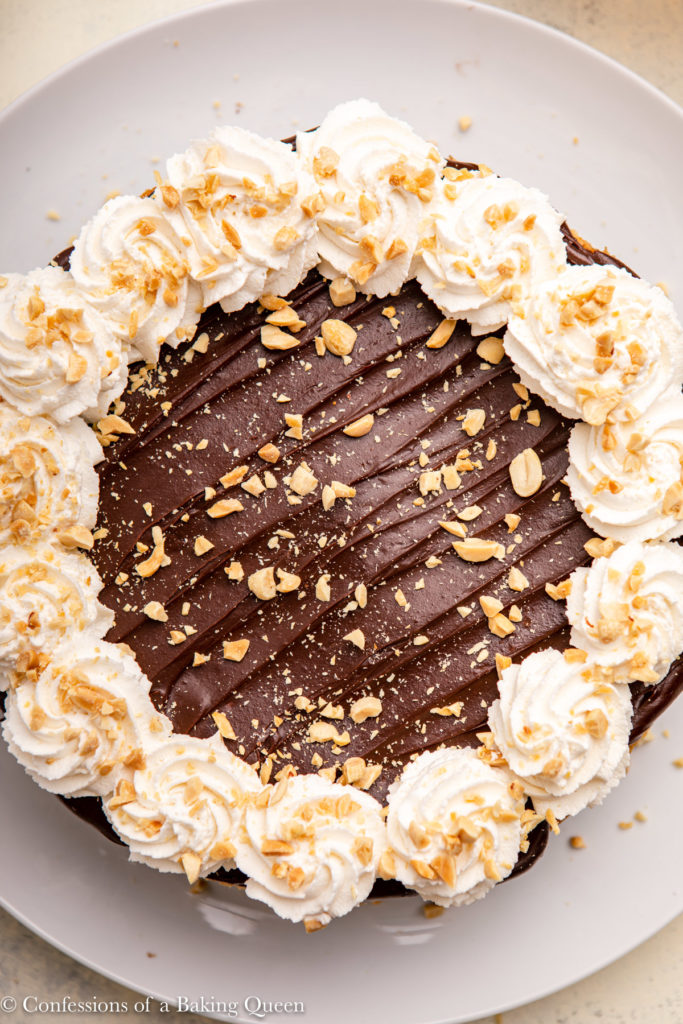 close up of peanut butter chocolate cheesecake