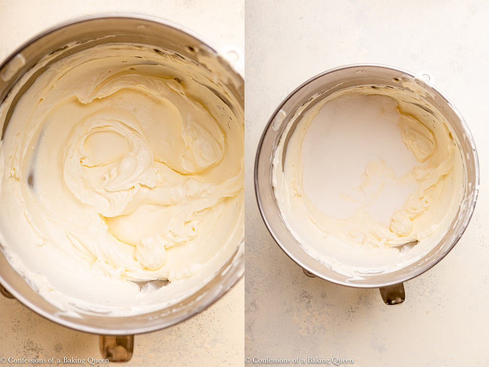 cream cheese in a large mixing bowl with sugar added