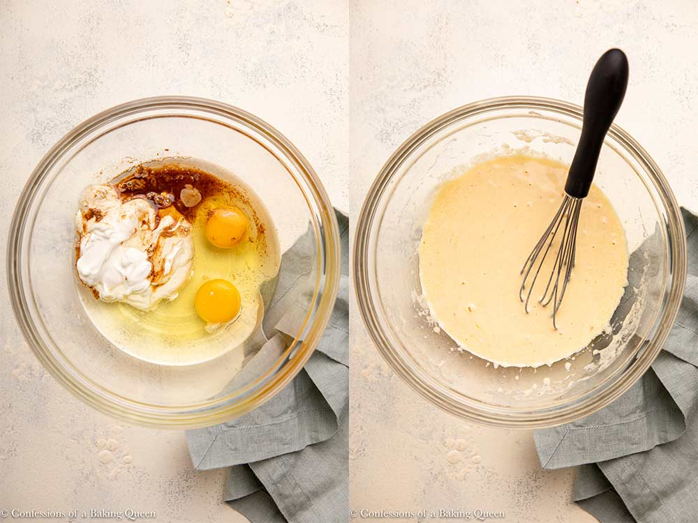 eggs, oil, sour cream, and vanilla whisked together in a glass bowl