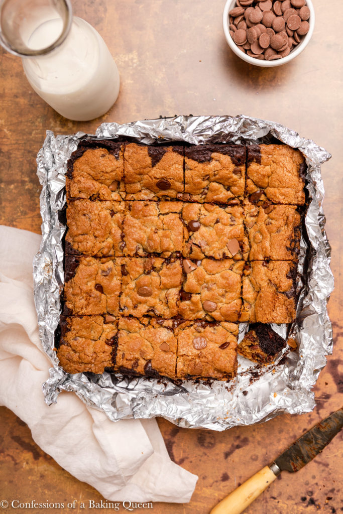 homemade brookies cut into squares on a piece of foil