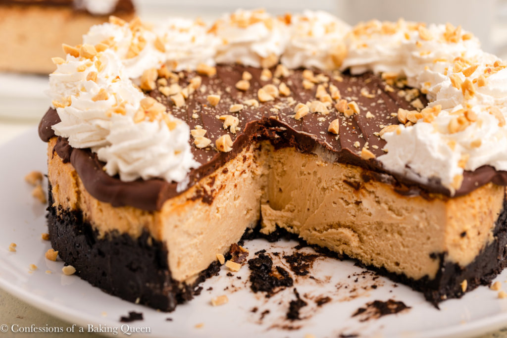 inside of a chocolate peanut butter cheesecake