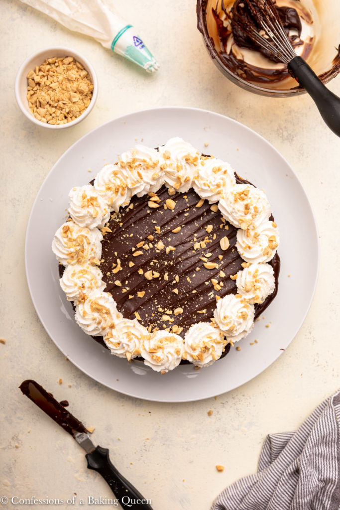 peanut butter and chocolate cheesecake on a serving plate