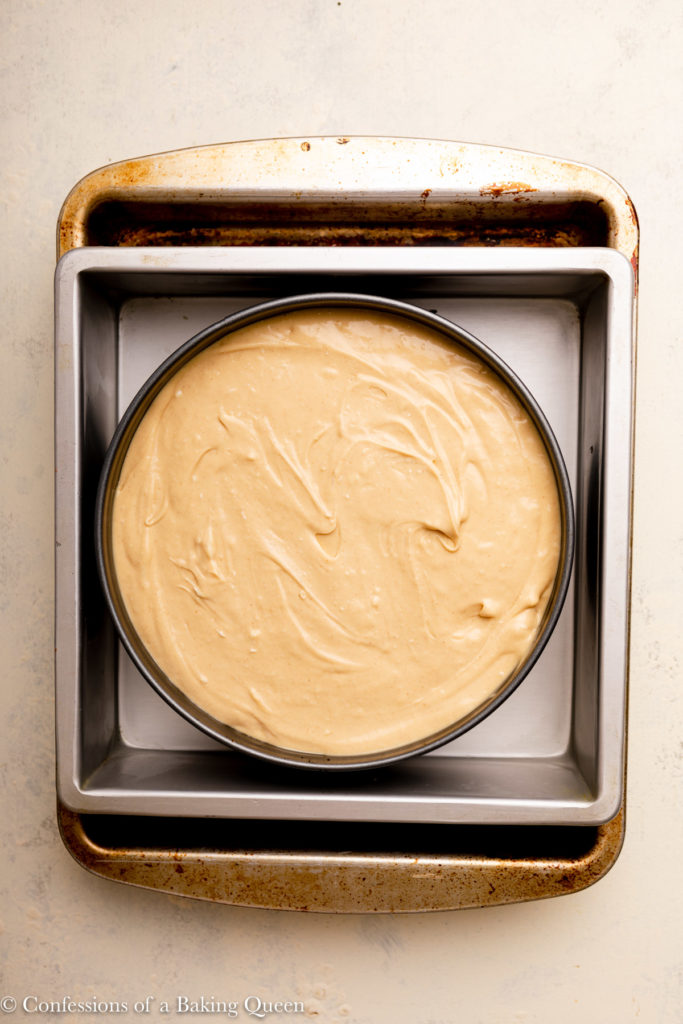 peanut butter cheesecake in a water bath before baking