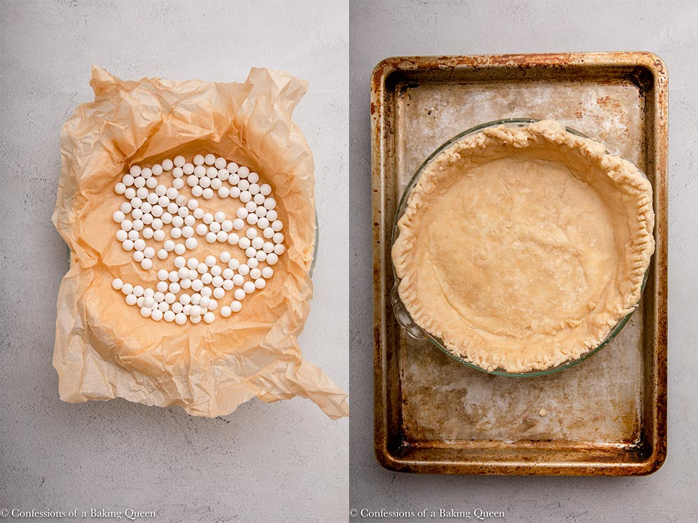 pie crust filled with pie weights and par baked